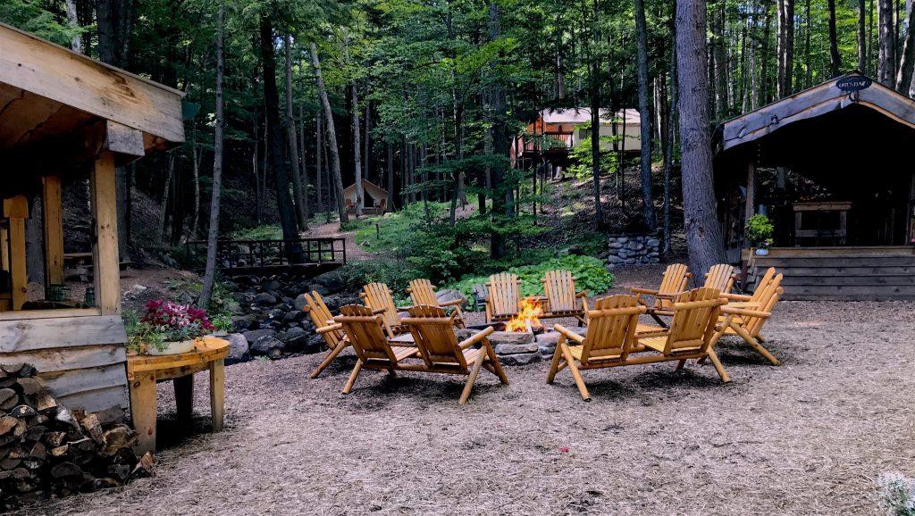 family camping, luxury camping, adirondack camping